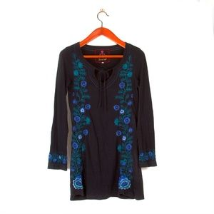Johnny Was beautiful blue embroidered dress